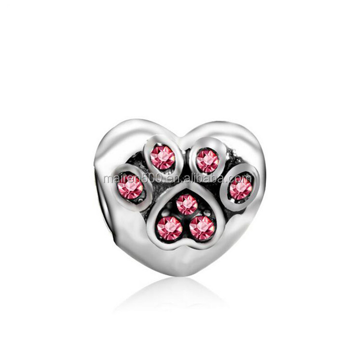 "2017 New Product for Pet Lover Wholesale Silver Color ""I Love My Pet "" Paw Print Charms with Color Rhinestones"