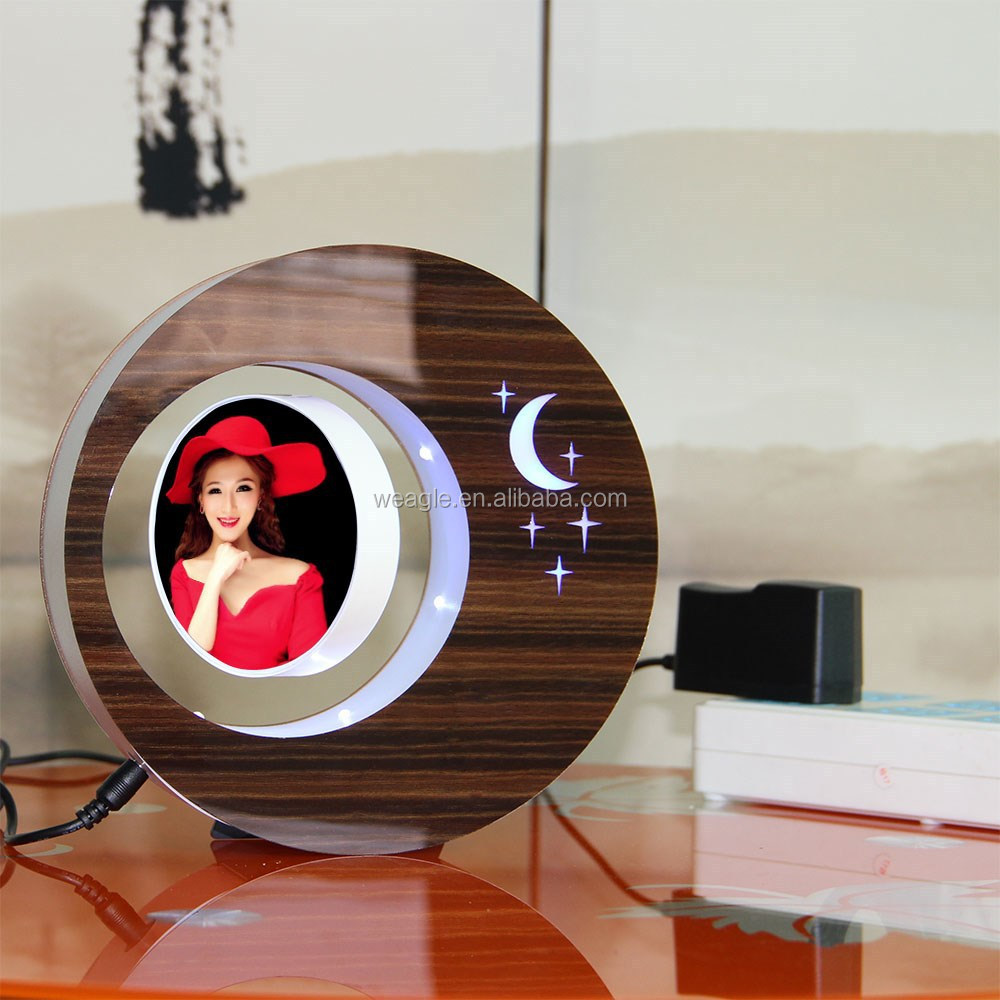 LED suspending in the air magnetic levitation photo frame cheap gift idea