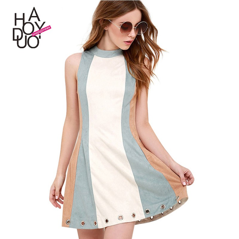 HAODUOYI Women Summer Contrast Color Bodycon Dress Female Sexy Party Mini Dress Lady Sleeveless High Collar Dress For Wholesale