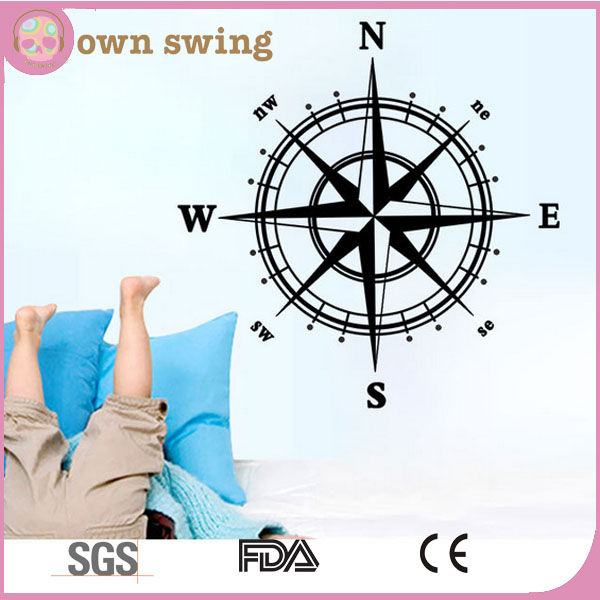 Navigation Compass Decals DIY Wall Art Stickers Unique Design of Mural Wall Decals for Romantic Sitting Room & Porch