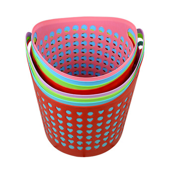 Household Colorful Hollow Design Plastic Laundry Basket With Handle