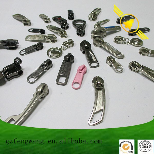 Custom brand logo different shape zipper pull,zipper slider for handbag/clothing/shoes