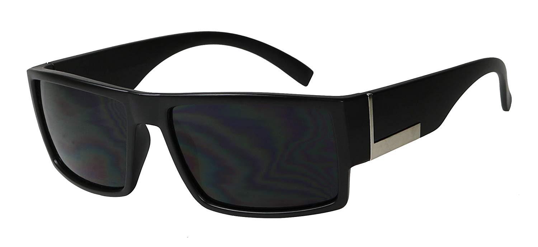 f66860134958 Get Quotations · Basik Eyewear - Mens Hardcore Super Flat Top Dark Black OG  Gangster Sunglasses