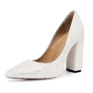 Cream high heels wedding shoes chunky pearl dress shoes party heels for women shoe