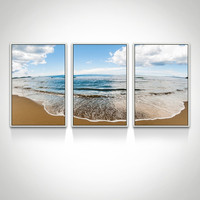 4 Pieces Seascape Canvas Wall Art/Floater Shadow Box Framed Canvas Art/beach Wave Poster
