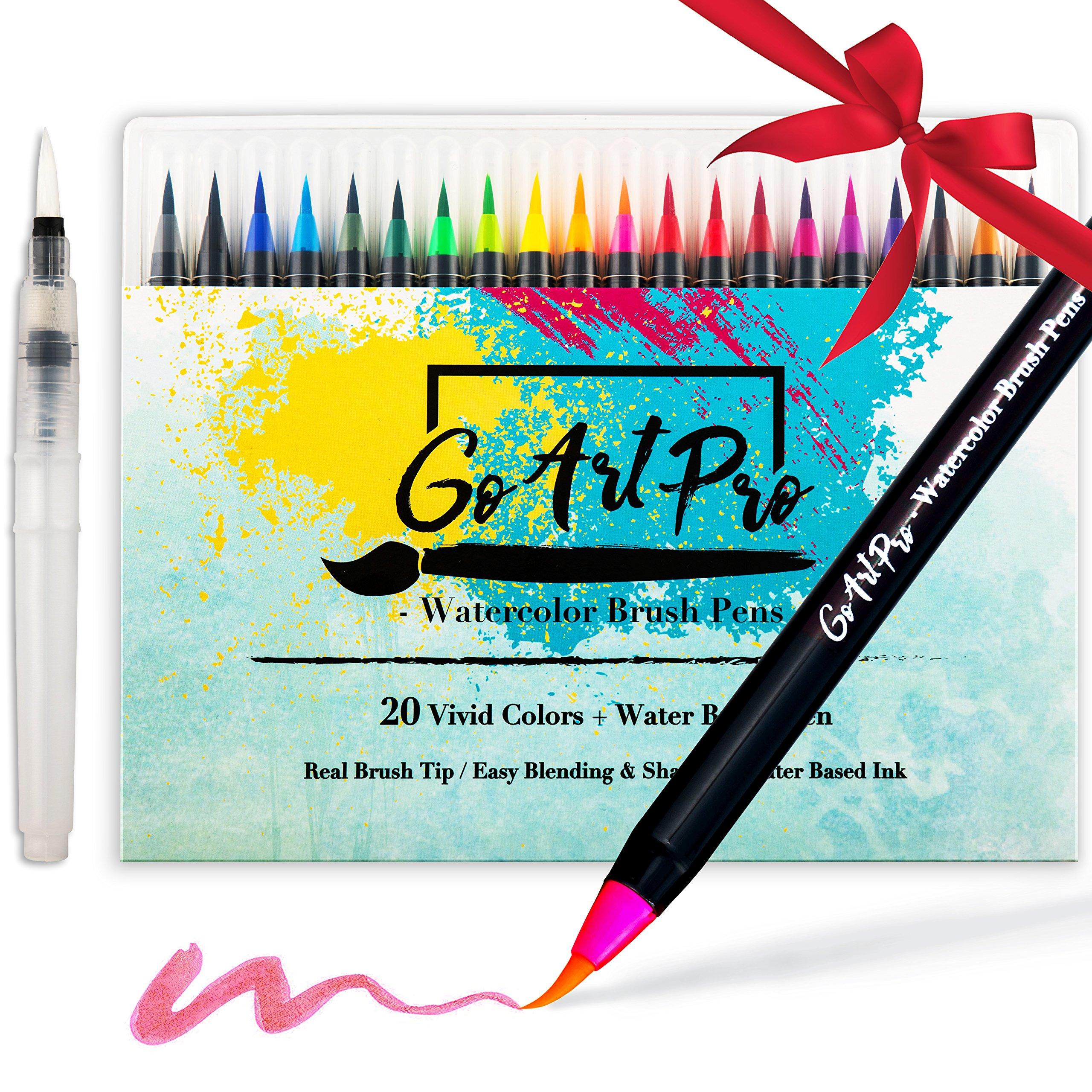 Watercolor Brush Pens by GoArtPro   Set of 20 Color Soft Flexible Real Brush Pens + BONUS Watercolor Pen   Brush Tip Markers for Adult Coloring Books, Manga, Comic, Calligraphy