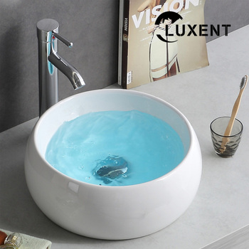 Wholesale Economic Round Shape White Ceramic Above Counter Art Basin