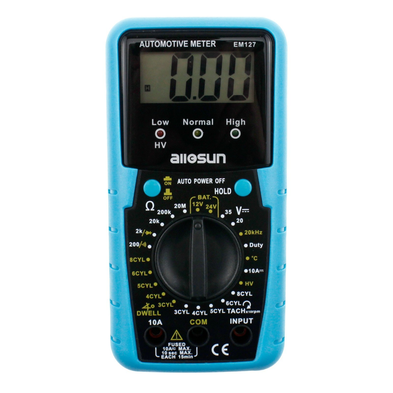 all-sun Automotive Multimeter DMM DC Volt Ohm Temp Frequency Diode and Continuity Tester Automotive Diagnosis Tester Test RPM Dwell Angle