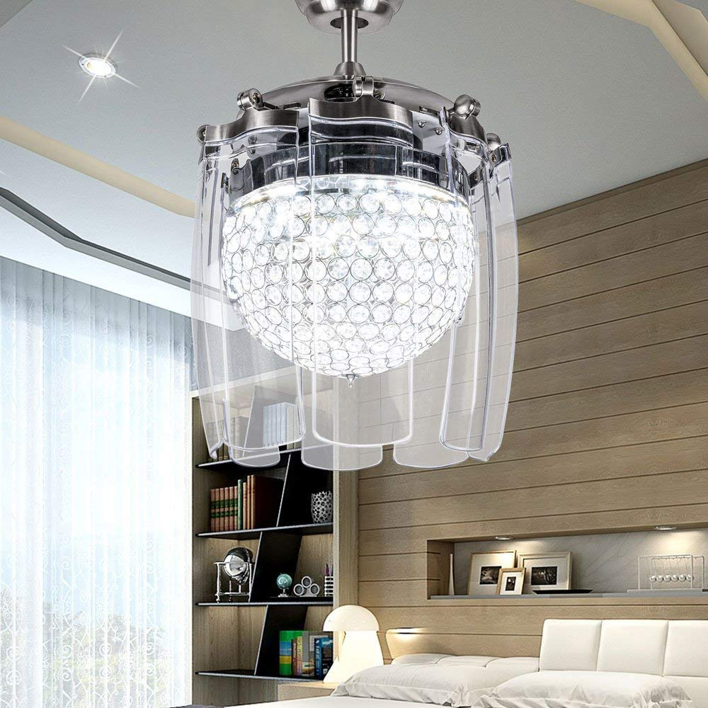Ceiling Fans Energetic Modern Crystal Ceiling Fan Light For Living Room Restaurant With 4 Folded Transparent Acrylic Leaf Remote Control 42 Inch Be Friendly In Use Ceiling Lights & Fans