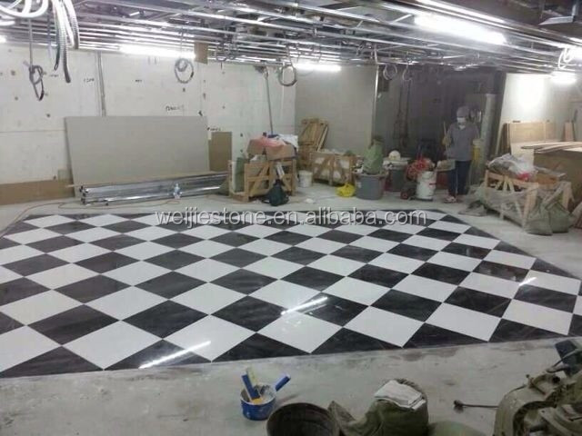 China Black Marquina And White Marble Flooring Tile 60x60 Checkered Floor