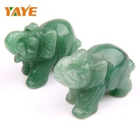 "Factory Price 2"" Hand Carved Natural Tumbled Green Aventurine Elephant Figurine for Home Decoration"