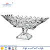 Large rectangular modern design recycled crystal glass fruit bowl with foot for table centerpieces