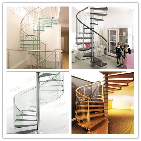 Stainless Steel U L Shape Stair With Wood Tread And Glass Railing Wood Trea