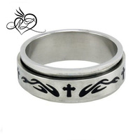 Christian Men's Abstinence 8mm Stainless Steel Flame Cross Spinner Guys Purity Ring