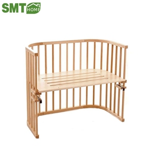 Portable baby Solid wood pine swinging baby cradle with bedding and mattress