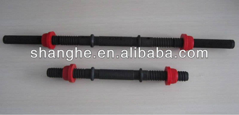 gym chrome coated dumbbell bars and collars/plastic bar/rubber dumbbell barbell bar