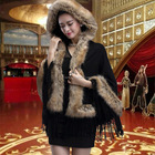 woman fox fur scarves/red daily life fake fur lady shawls with tassel