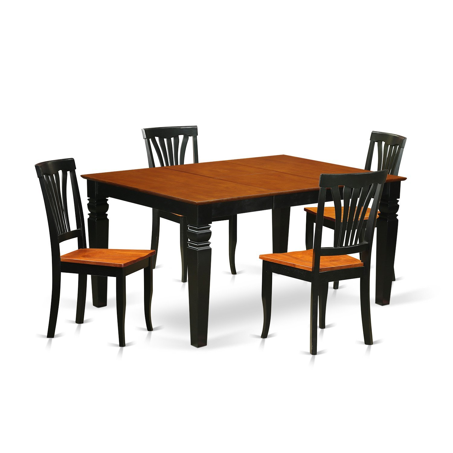 East West Furniture Weston WEAV5-BCH-W 7 Pc Dinette Set with a Dinning Table and 6 Wood Dining Chairs, Black