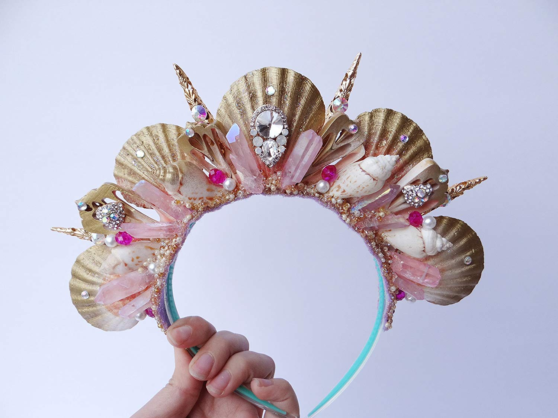 Pink Aura Crystal Mermaid Crown by Star Stuff Boutique Mermaid Headress, Mermaid Headdress, High Energy Mermraid Headpiece, Shell Tiara