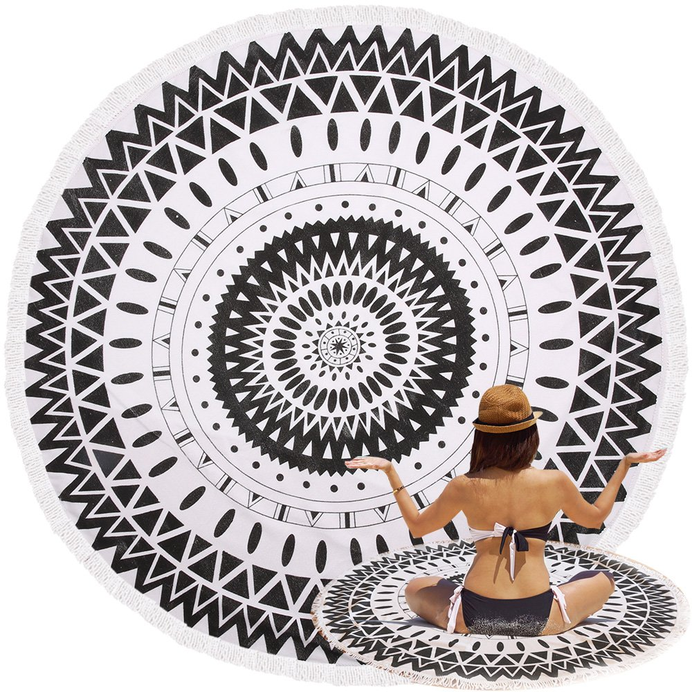 Oummit Indian Traditional Style,Beach Towel Round Tapestry Mandala Roundies, Beach Throw, Indian Mandala Tapestry, Yoga Mat, Picnic Mat, Table throw, Thick Ultra Soft Water Absorbent Tropical