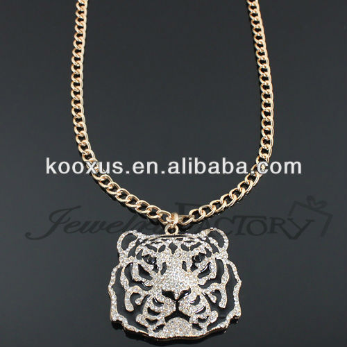 Rhinestone Flat Tiger Head Fashion Necklace jewery