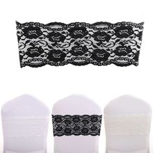 100pcs/Pack White/Black/Ivory Spandex Stretch Lace Chair Cover Bands Sashes For Wedding Party Event Decorations