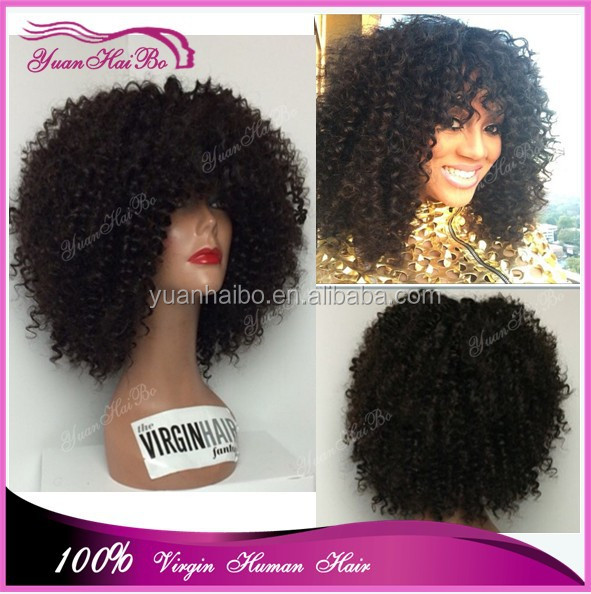 Most Popular afro curl human hair wigs virgin malaysian short curly full lace wigs with bangs for black women