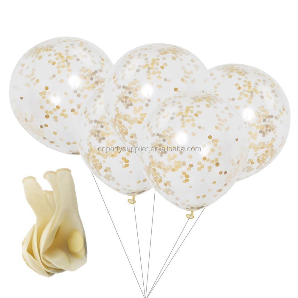 Free Shipping 12 Inch Confetti Balloons Gold Circle Confetti Filled Latex Clear Party Balloon Wedding & Engagement