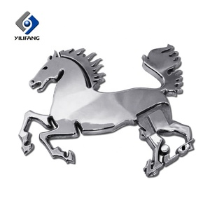 Custom emblem badge chrome 3d car horse logo emblem sticker for car grill
