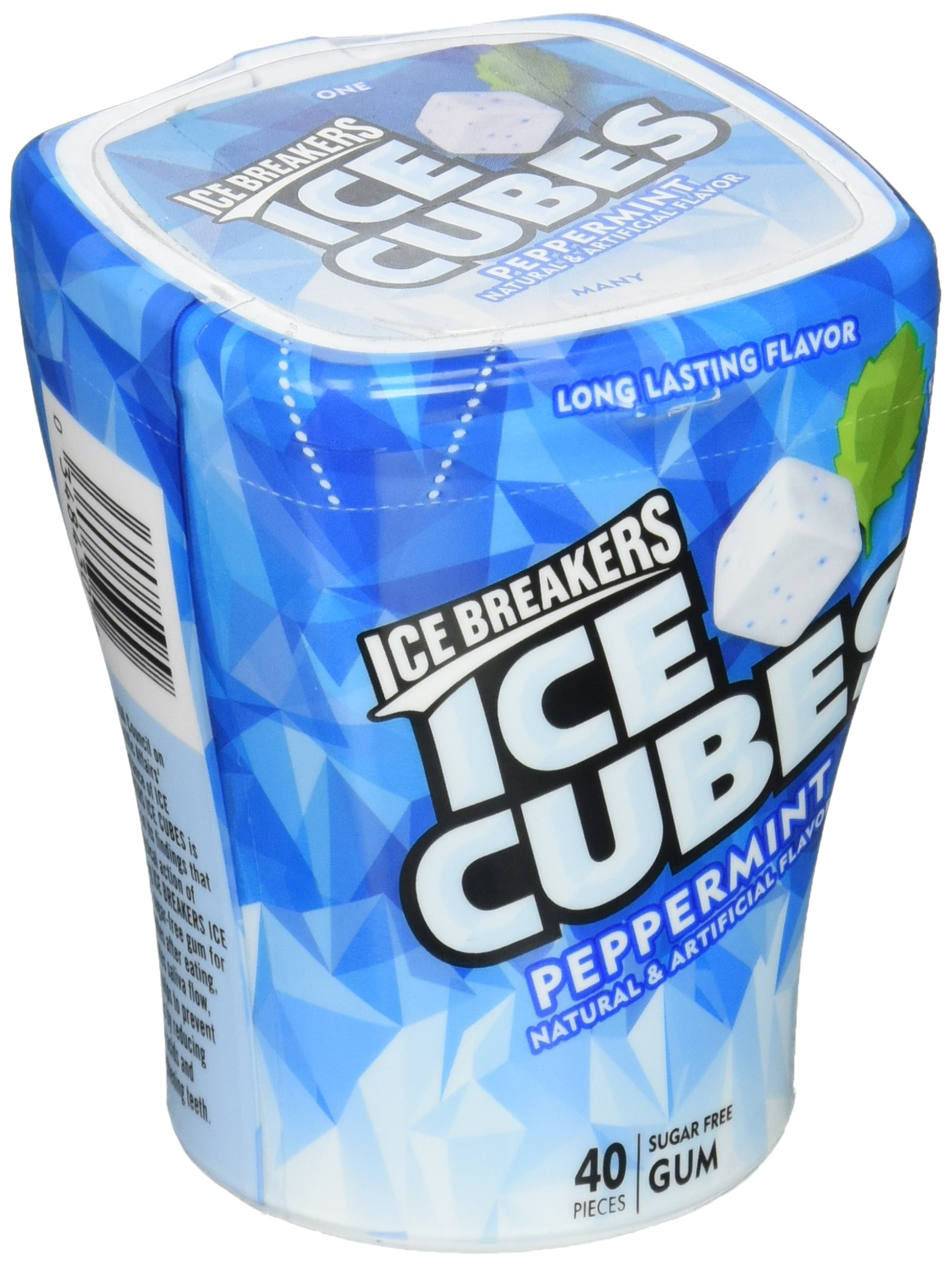 ICE BREAKERS Ice Cubes Sugar Free Gum, Peppermint, 40 Piece