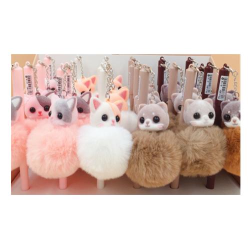 Cute Sweet Gel Pens kawaii Cartoon Creative animal ball pen pom pom stationery school supplies Gift CH1201