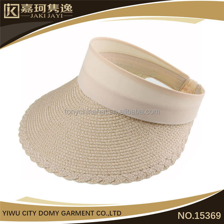 Fashion girl foldbale Sun Visor Hat Paper Straw Caps With Lace