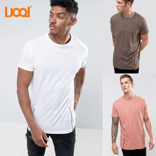 Hip Hop Style Wholesale Organic Clothing,100% Cotton Side Zip Curved Hem t-shirt, Plain Men T Shirt