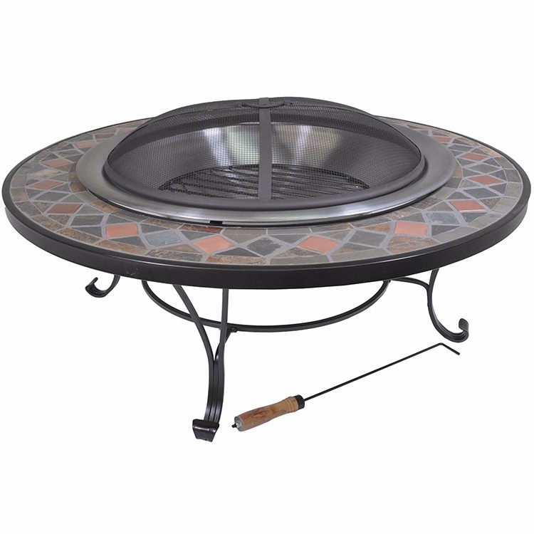 40 Quot Round Mosaic Slate Wood Burning Patio Deck Fire Pit