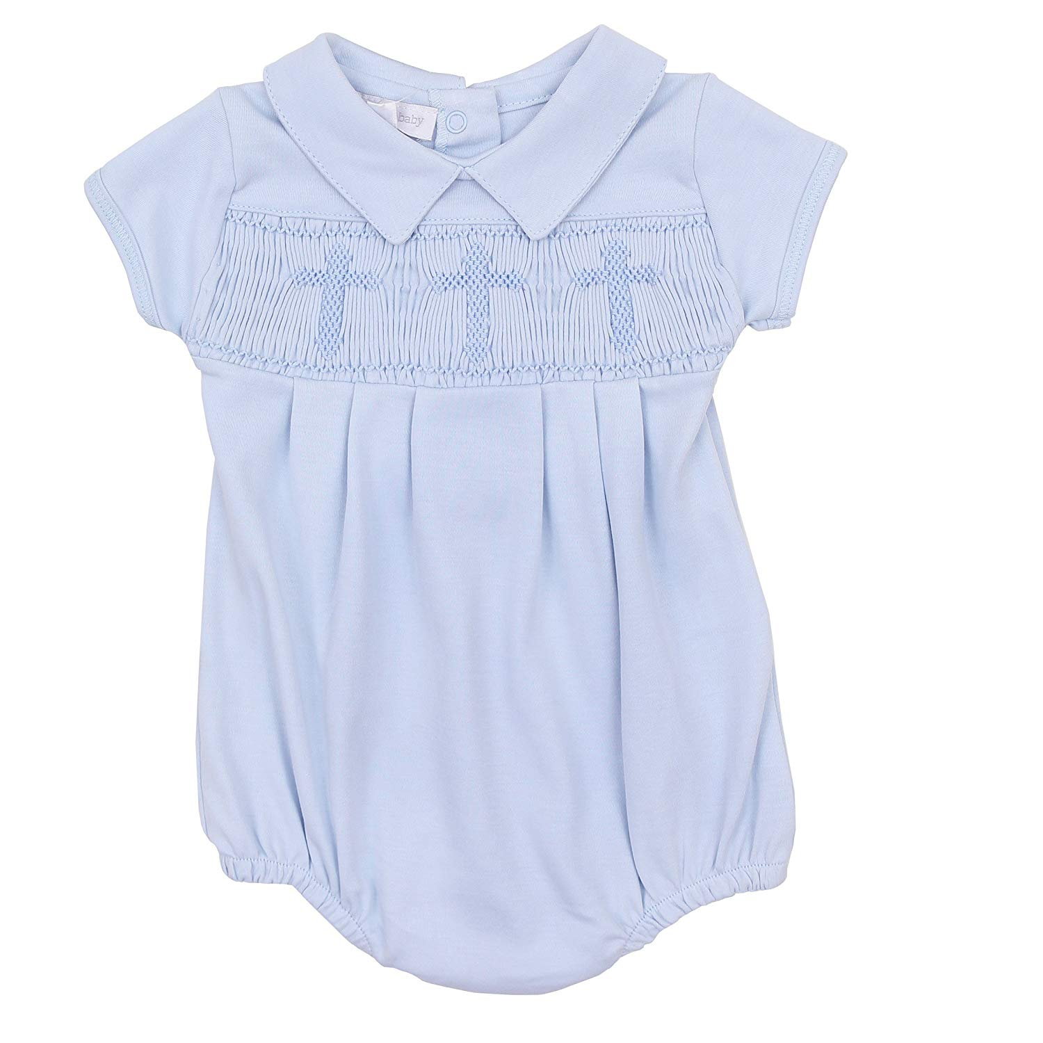 819a82e60 Get Quotations · Magnolia Baby Baby Boy Blessed Baby Smocked Collared Boy  Bubble Blue