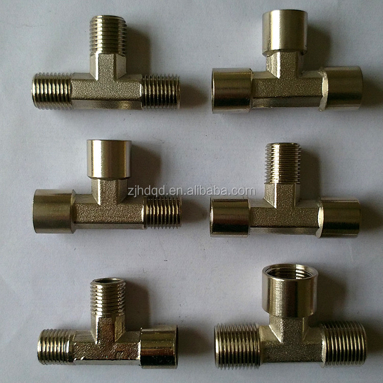 "1/4"" 3/8"" 1/2"" BSPP BSPT NPT female or male thread ,T type brass air connector ,tee pipe <strong>fittings</strong>"