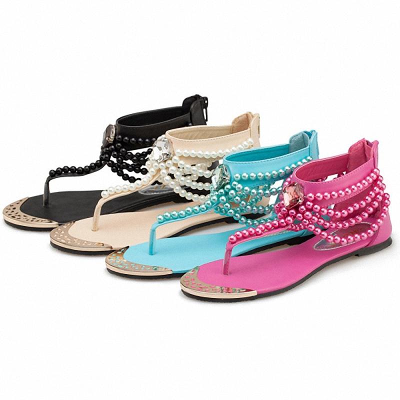 fc5f371b05a Buy Beading Summer Sandals Beach Shoes Meatal Decoration Sandale Femme Flat Women  Flip Flops Ethnic Beading Summer Sandals in Cheap Price on m.alibaba.com