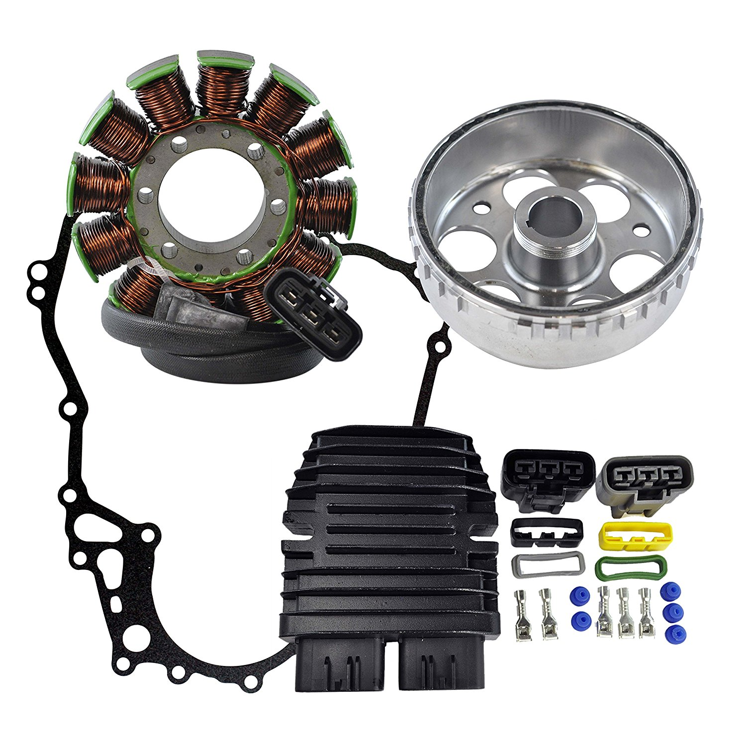 Kit Stator + Regulator Rectifier + Flywheel + Crankcase Cover Gasket For Ski Doo GSX/GTX/MX Z 1200 TNT EFI L/C 2009-2015 OEM Repl.#420892370 420430750 420892360 710000261 31600-HP0-A01 1D7-81960-01-00