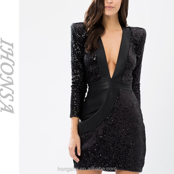fresh styles the sale of shoes new design Long Sleeve Sexy V Neck Sequin Dress Sexy Women Cocktail Sequin Black Short  Evening Dress Hsd6690 - Buy Sequin Dress,Cocktail Dresses Black ...