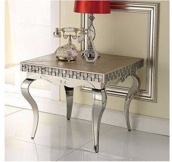 105 Modern Contemporary Stainless Steel Silver Imitated Leather Luxury Living  Room Siliver Small Square Side Table Part 78
