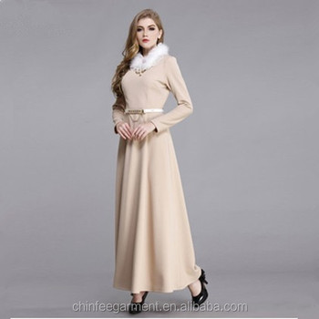489148630d44 Fashion Muslim Women Winter Maxi Dresses Long Winter Dress - Buy ...