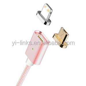 Wholesale price magnetic data cable for iPhone and Android 2 in 1 usb cable 1m nylon braided