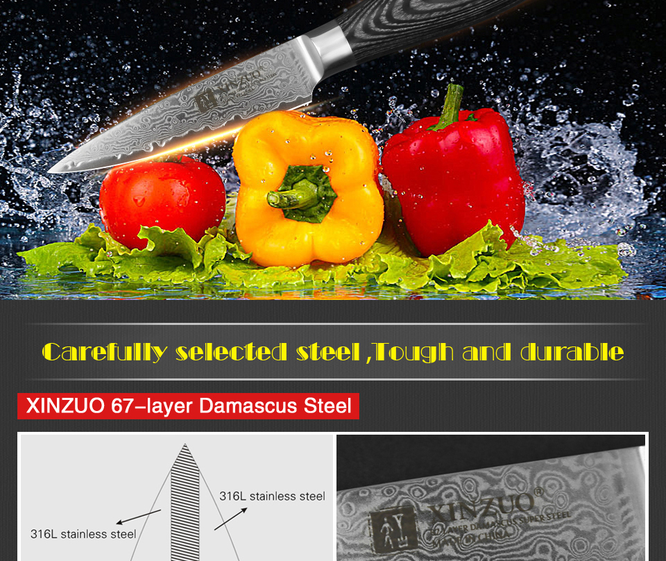 "HTB1W7OrcwfN8KJjSZFIq6A0UFXag - XINZUO 3.5"" inch Paring Knife 67 layers Japan Damascus Steel Peeling Fruit Knife"