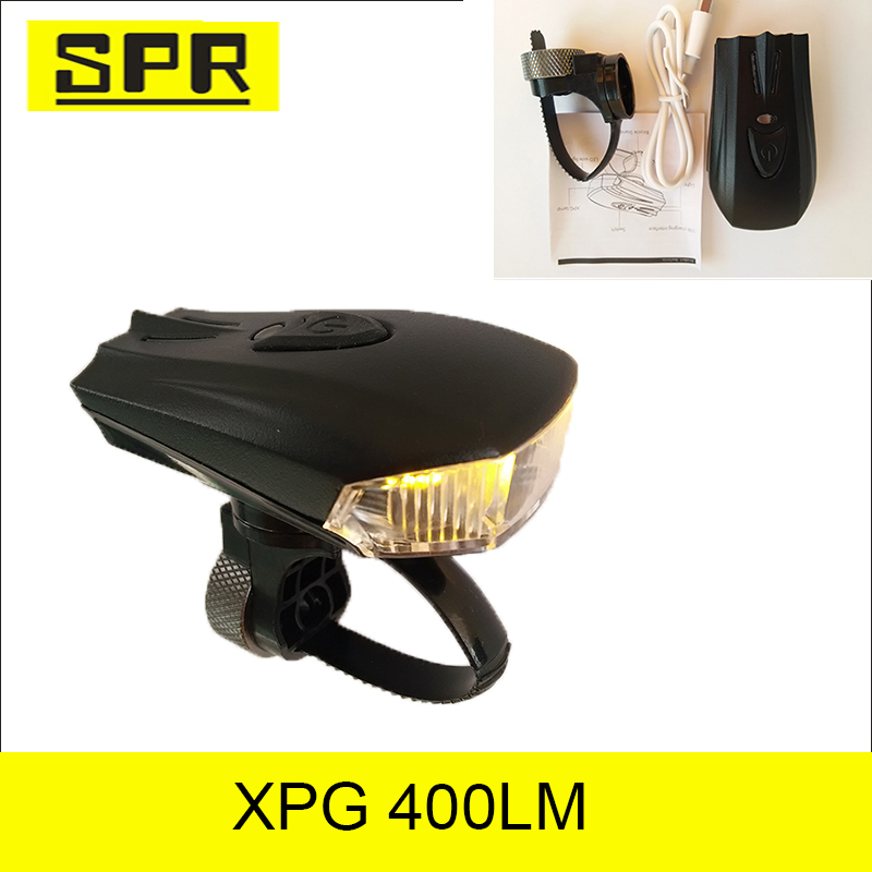 High standard LED rechargeable USB XPG front bike light with ABS+Aluminum multi-function for mountain bicycle or others SPR-8065