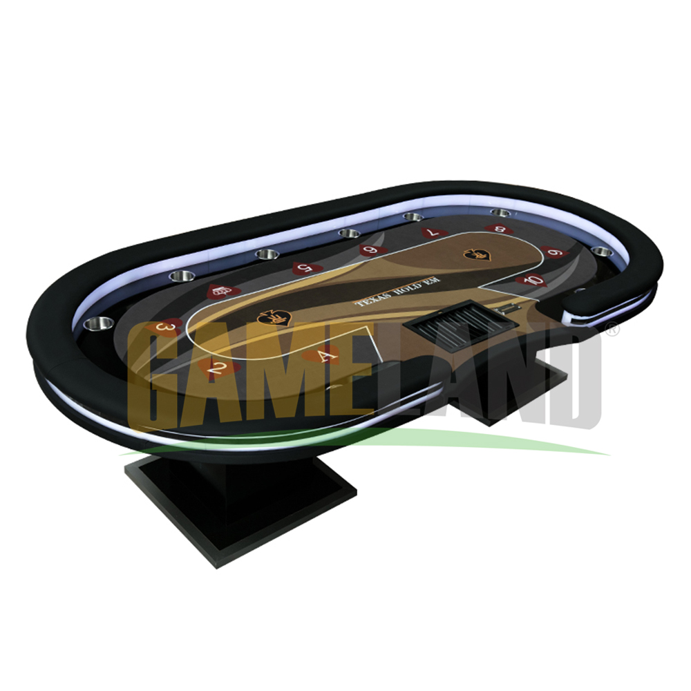 Personalizado Mesa de Poker Com Lâmpadas LED, Duas Interfaces USB, Bandeja Chip