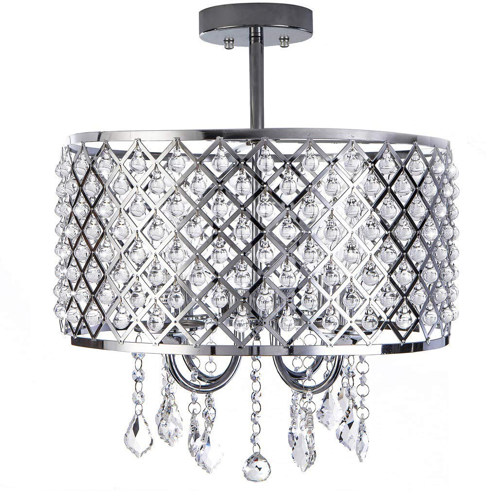 DELICA HOME 16'' Diameter Modern Polished Chrome Chandelier Ceiling Light, Drum Shade Pendant Hanging Lighting Fixture With Crystal Beads, 4-Bulb Lighting Fixture
