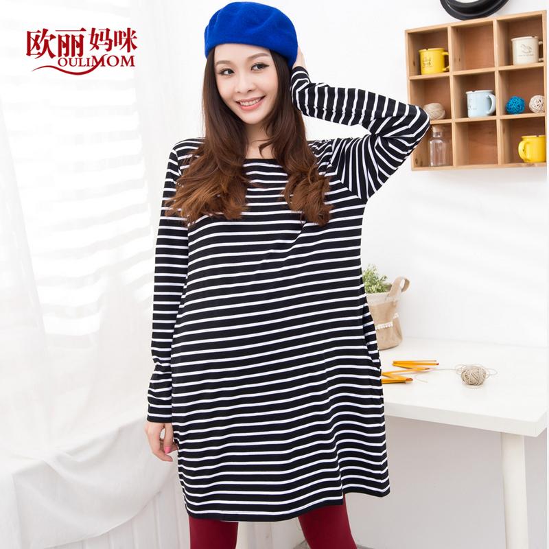 Без тары для беременных одежда осень ткань в полоску для беременных футболки с круглым вырезом верхний без тары футболки