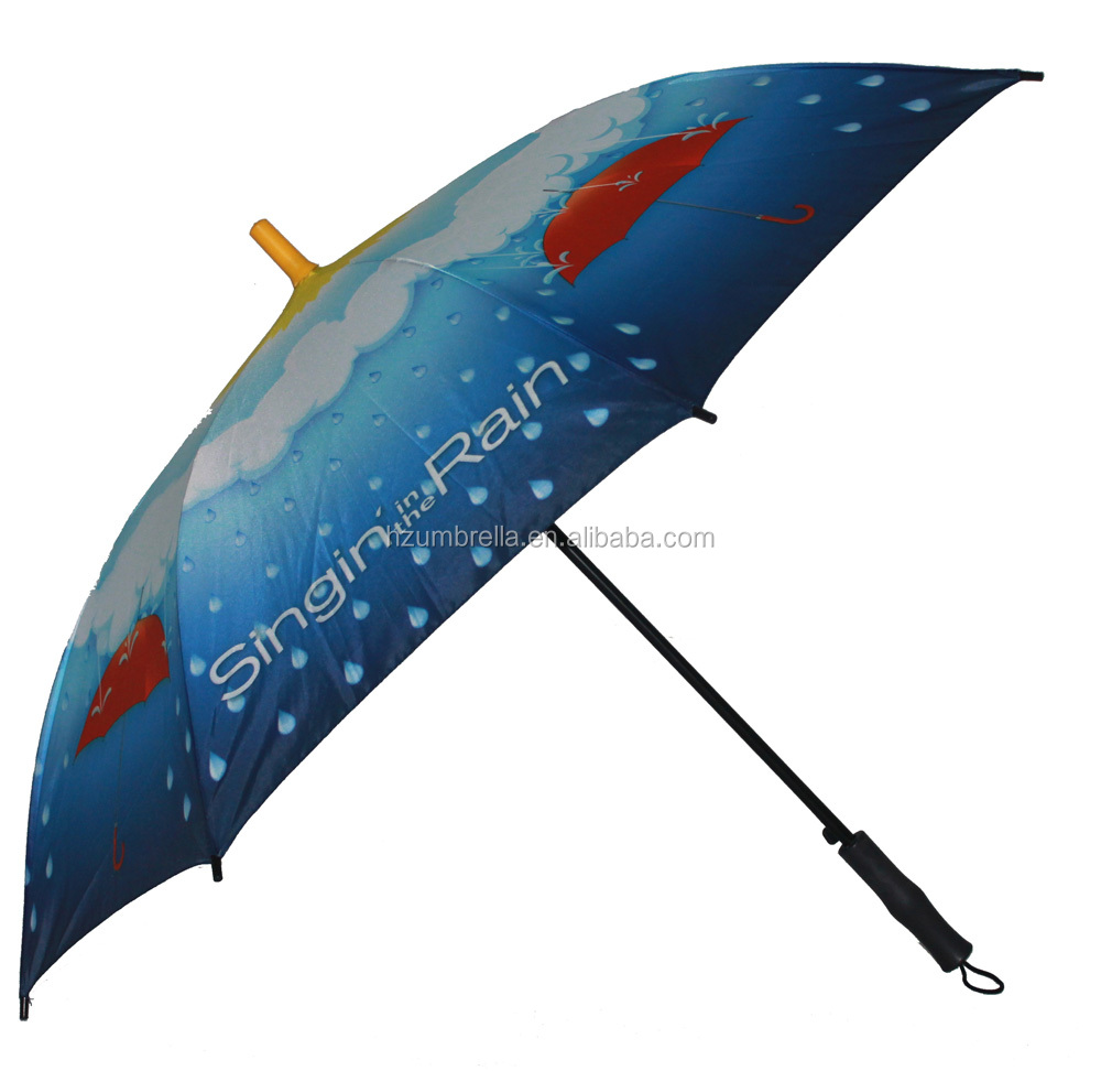 "'Singing in the rain"" Heat transfer auto open straight umbrella for gift"