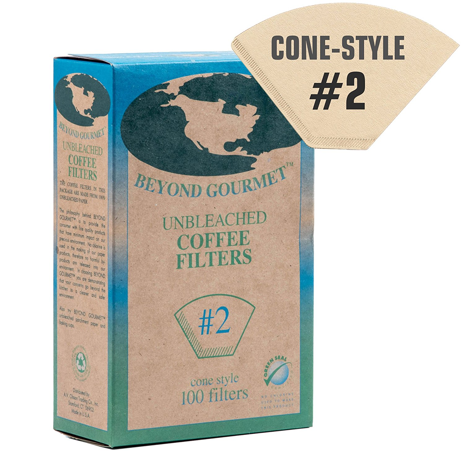 #2 Cone Paper Coffee Filters - Brown, Unbleached, Chlorine-free (#2, 100 Filters)