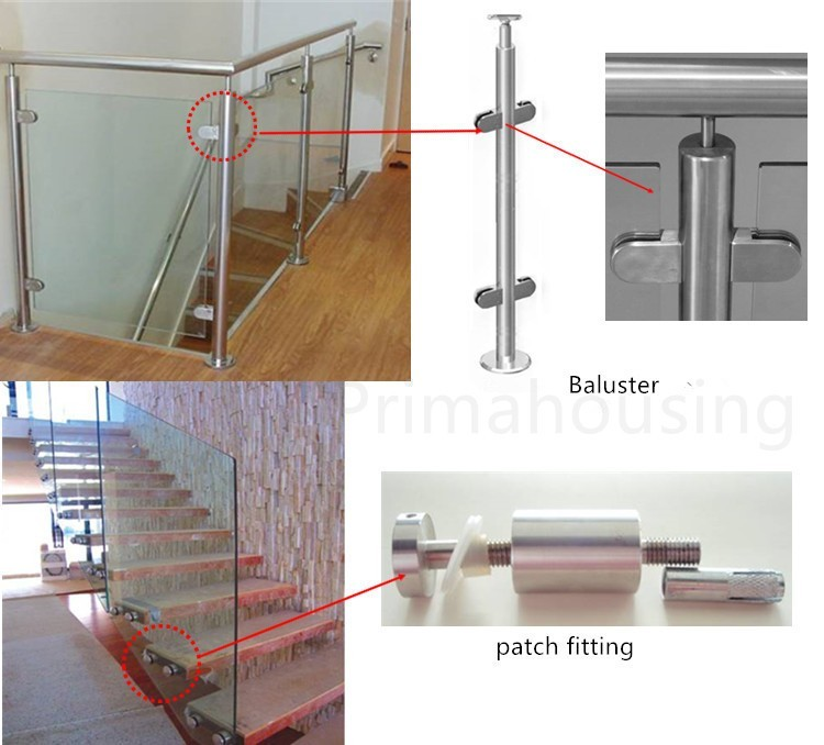 Tempered Glass Handrail /balcony Railing Design/stair Handrail Wall Mounted